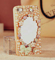 Bling Mirror Bowknot Crystal Cases Pearls Covers for iPhone 6 - Pink