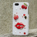 Bling Red lips Crystal Cases Rhinestone Pearls Covers for iPhone 6 - White