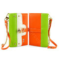 IMAK Tit color holster Wallet leather case cover for iPhone 6 - Green Orange