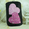 Luxury Bling Holster Covers Heart Crystal diamond Cases for iPhone 6 - Black