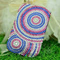 Luxury Bling Holster Covers Round Crystal diamond Cases for iPhone 6 - Blue