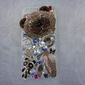 Bling Swarovski crystal cases Bear diamond covers for iPhone 6 Plus - Brown