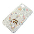 Bling Swarovski crystal cases Heart diamond covers for iPhone 6 Plus - White