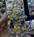 Bling Swarovski crystal cases Teddy Bear diamond cover for iPhone 6 Plus - White