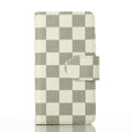 Cheapest LV Louis Vuitton Lattice Leather Flip Cases Holster Covers For iPhone 6 Plus - White