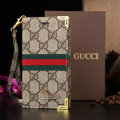 Classic Gucci High Quality Leather Flip Cases Holster Covers For iPhone 6 Plus - Brown