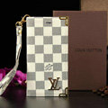 Classic LV Louis Vuitton Lattice Leather Flip Cases Holster Covers For iPhone 6 Plus - White