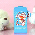 Doraemon Flip leather Case Holster Cover Skin for iPhone 6 Plus - Blue