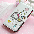 Hello Kitty Side Flip leather Case Holster Cover Skin for iPhone 6 Plus - White 07