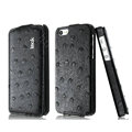 IMAK Ostrich Series leather Case holster Cover for iPhone 6 Plus - Black