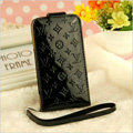 LV LOUIS VUITTON leather Cases Luxury Holster Covers Skin for iPhone 6 Plus - Black