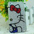 Luxury Bling Hard Covers Hello kitty diamond Crystal Cases Skin for iPhone 6 Plus - White