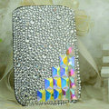 Luxury Bling Holster Covers diamond Crystal leather Cases for iPhone 6 Plus - White