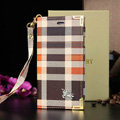 Luxury Burberry Fashion Best Leather Flip Cases Holster Covers For iPhone 6 Plus - Orange