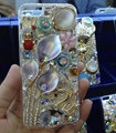 Swarovski crystal cases Bling Flower Swan diamond cover skin for iPhone 6 Plus - White