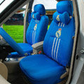Classic FC Real Madrid Universal Automobile Cars Seat Covers Sandwich Fabric 18pcs Sets - Blue