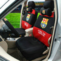 High Quality FC Barcelona Universal Automobile Cars Seat Covers Sandwich Fabric 18pcs Sets - Black