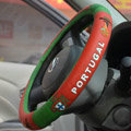Safety 1st Football Portugal Green Latex Rubber Auto Cars Steering Wheel Covers 15 inch 38CM - Red