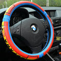 Unique Football Spain Green Latex Rubber Auto Cars Steering Wheel Covers 15 inch 38CM - Red