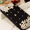 Flower Bling Battery Case Leather Cover for Samsung Galaxy Note 4 N9100 - Black