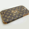 LOUIS VUITTON LV Luxury leather Case Hard Back Cover for Samsung Galaxy Note 4 N9100 - Brown