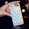 Beautiful Swarovski Bling Rhinestone Case Fox Fur ball Diamond Cover for iPhone 6 - Blue