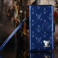 Bling Diamond LV folder leather Case Book Flip Mirror Holster Cover for Samsung Galaxy NoteIII 3 - Blue