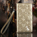Bling Diamond LV folder leather Case Book Flip Mirror Holster Cover for Samsung Galaxy NoteIII 3 - Champagne