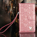 Bling Diamond LV folder leather Case Book Flip Mirror Holster Cover for Samsung Galaxy NoteIII 3 - Pink