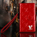 Bling Diamond LV folder leather Case Book Flip Mirror Holster Cover for Samsung Galaxy NoteIII 3 - Red
