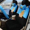 Cartoon Rilakkuma Universal Automobile Plush Velvet Car Seat Cover 18pcs Sets - Blue+Black