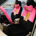 Cartoon Rilakkuma Universal Automobile Plush Velvet Car Seat Cover 18pcs Sets - Rose+Black