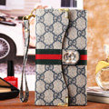Classic Diamond Gucci High Quality Leather Flip Cases Holster Covers for iPhone 6 - Gray