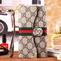 Classic Diamond Gucci High Quality Leather Flip Cases Holster Covers for iPhone 6 Plus - Brown