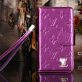 Classic Diamond LV folder leather Case Book Flip Mirror Holster Cover for Samsung Galaxy Note 4 N9100 - Purple