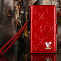 Classic Diamond LV folder leather Case Book Flip Mirror Holster Cover for Samsung Galaxy Note 4 N9100 - Red