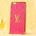 Classic LV Metal Flower Leather Cases Luxury Hard Back Covers Skin for iPhone 6 Plus - Rose