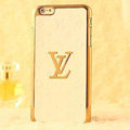 Classic LV Metal Flower Leather Cases Luxury Hard Back Covers Skin for iPhone 6 Plus - White