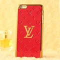 Classic LV Metal Flower Leather Cases Luxury Hard Back Covers Skin for iPhone 6 - Red