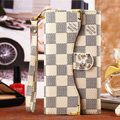Classic LV Plaid High Quality Leather Flip Cases Holster Covers for iPhone 6 Plus - Beige