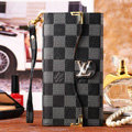 Classic LV Plaid High Quality Leather Flip Cases Holster Covers for iPhone 6 Plus - Black