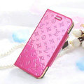 Classic LV folder Leather Cases Book Flip Holster Cover for iPhone 6 Plus - Rose