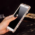 Classic Swarovski Bling Metal Bumper Frame Case Diamond Cover for Samsung Galaxy Note 4 N9100 - Color White