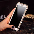 Classic Swarovski Bling Metal Bumper Frame Case Diamond Cover for Samsung Galaxy Note 4 N9100 - White