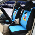 Cute Mickey Mouse Universal Automobile Plush Velvet Car Seat Cover 18pcs Sets - Blue+Black