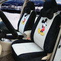 Cute Mickey Mouse Universal Automobile Plush Velvet Car Seat Cover 18pcs Sets - Gray+Black