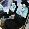 Cute Polka Dots Hello Kitty Universal Automobile Plush Velvet Car Seat Cover 18pcs Sets - Black+Blue