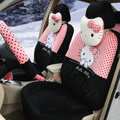 Cute Polka Dots Hello Kitty Universal Automobile Plush Velvet Car Seat Cover 18pcs Sets - Black+Peach