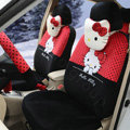 Cute Polka Dots Hello Kitty Universal Automobile Plush Velvet Car Seat Cover 18pcs Sets - Black+Red