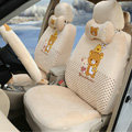 Cute Polka Dots Rilakkuma Universal Automobile Plush Velvet Car Seat Cover 18pcs Sets - Beige